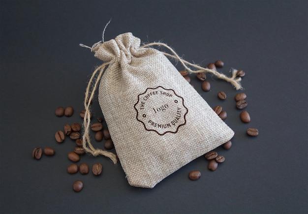 Maquete de embalagem de grãos de café