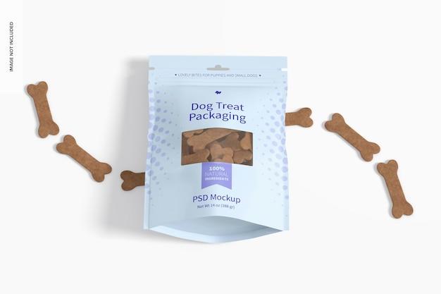 Maquete de embalagem de guloseimas para cães, vista em perspectiva