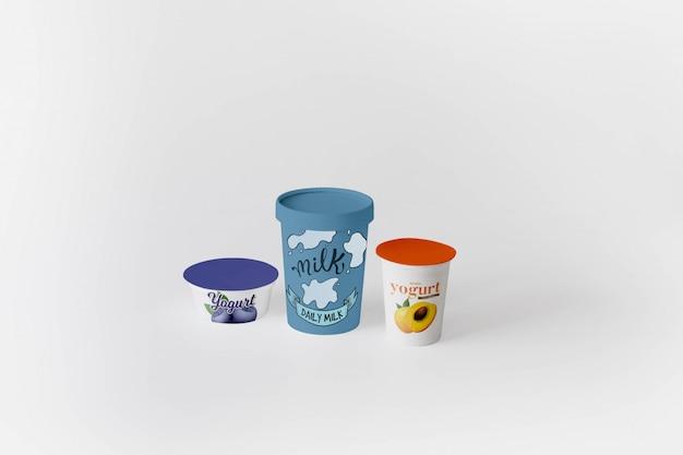 Maquete de embalagem de iogurte
