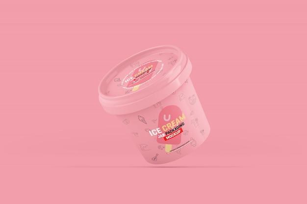 Maquete de embalagem de jarra de sorvete
