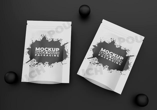 Maquete de embalagem de lanche preto