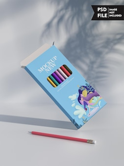 Maquete de embalagem de lápis de cor