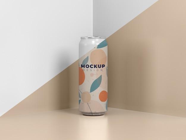 Maquete de embalagem de lata abstrata
