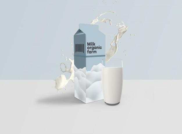 Maquete de embalagem de leite psd
