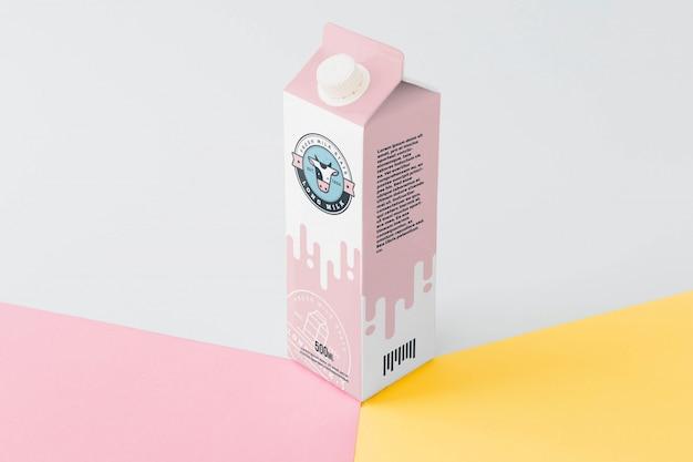 Maquete de embalagem de leite