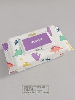 Maquete de embalagem de lenços umedecidos