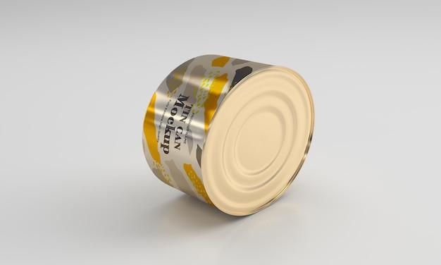 Maquete de embalagem de metal dourado para alimentos