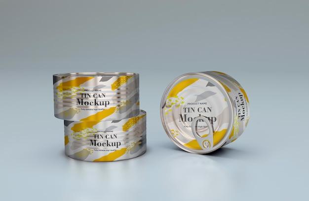 Maquete de embalagem de metal para comida