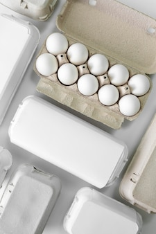 Maquete de embalagem de ovos ecológicos