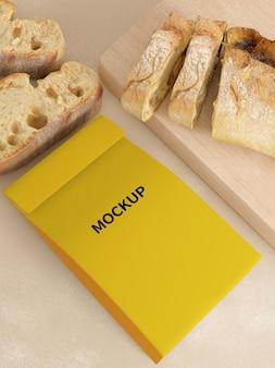 Maquete de embalagem de pão de papel