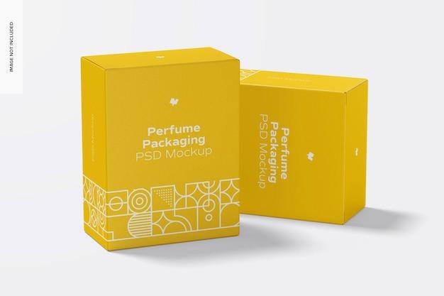 Maquete de embalagem de perfume, vista frontal