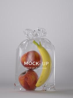 Maquete de embalagem de plástico de frutas