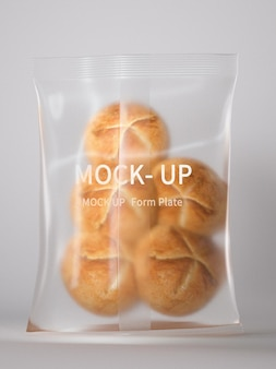Maquete de embalagem de plástico de pão