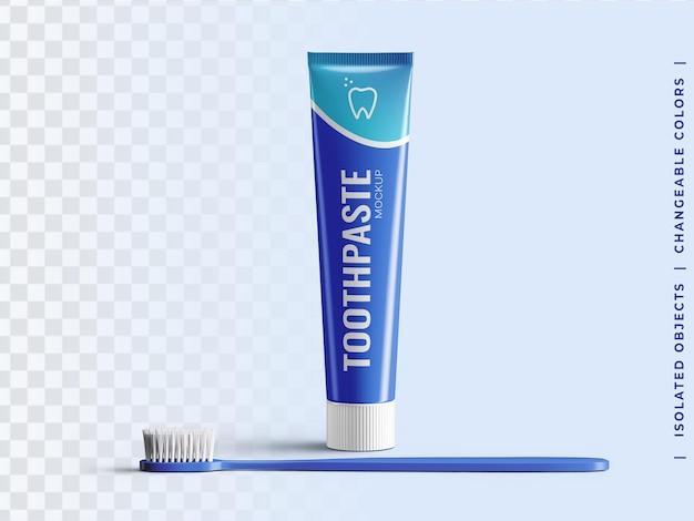 Maquete de embalagem de plástico do tubo de pasta de dente com vista frontal da escova de dente isolada