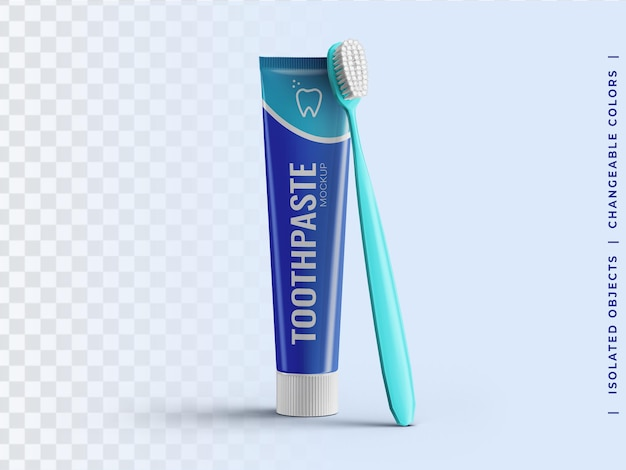Maquete de embalagem de plástico do tubo de pasta de dente com vista frontal da escova de dente isolada Psd Premium