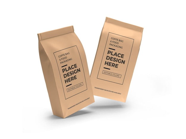 Maquete de embalagem de saco de café e comida