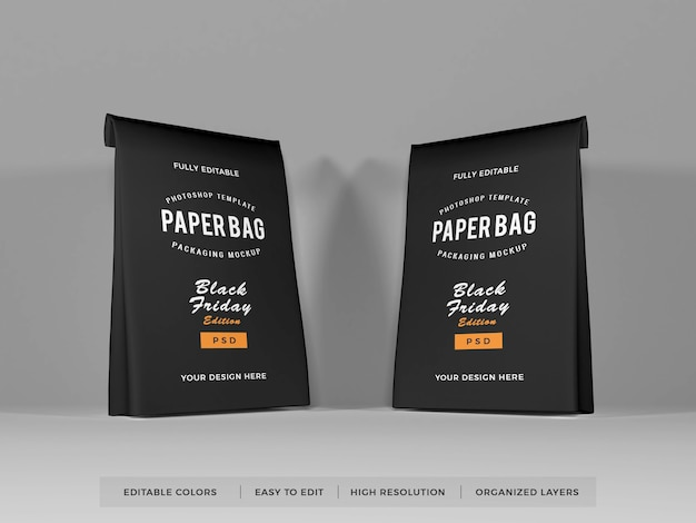 Maquete de embalagem de saco de papel
