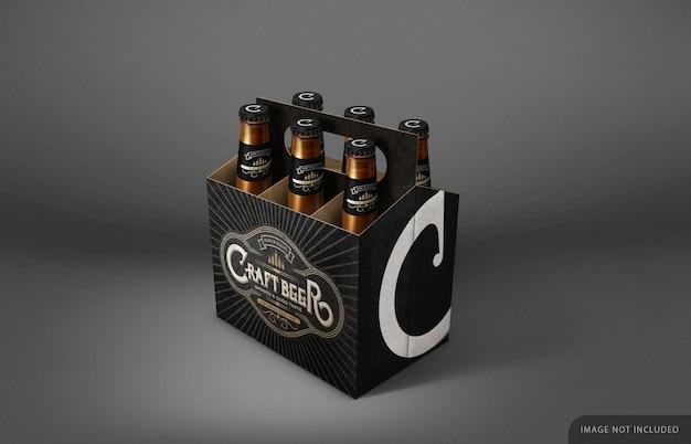 Maquete de embalagem de seis garrafas de cerveja com gargalo e tampa