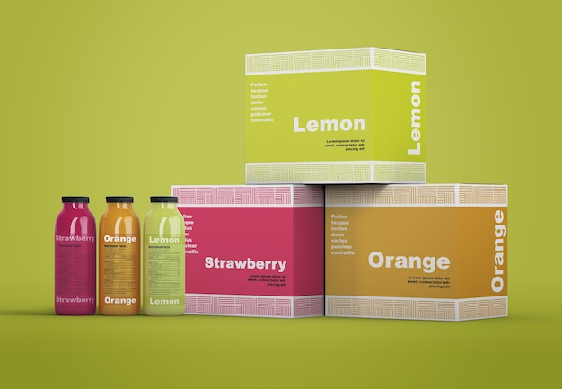 Maquete de embalagem de smoothie refrescante colorido
