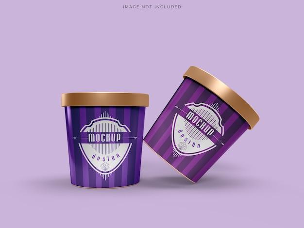 Maquete de embalagem de sorvete de xícara de maquete para sorvete