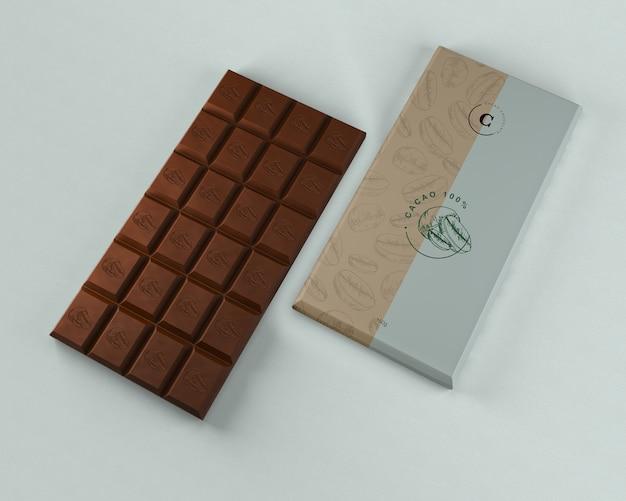 Maquete de embalagem de tablet de chocolate