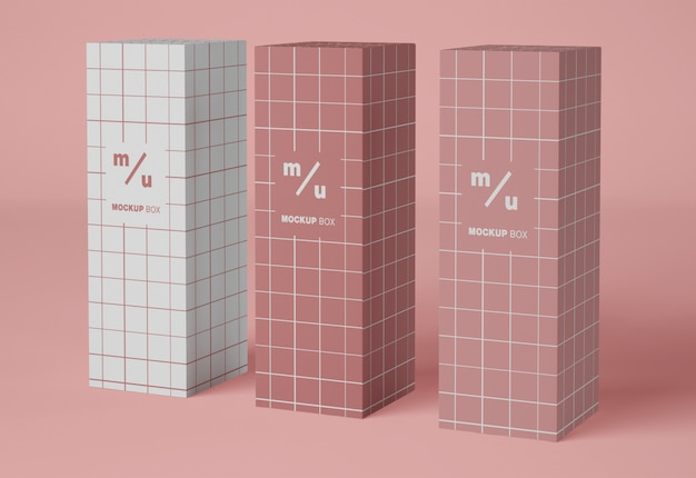 Maquete de embalagem de três caixas de papel