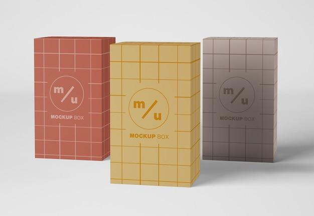 Maquete de embalagem de três caixas