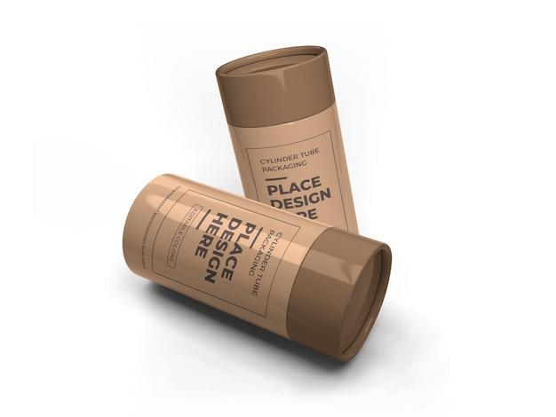 Maquete de embalagem de tubo de cilindro
