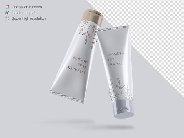 Maquete de embalagem de tubos cosméticos flutuantes brilhantes e realistas