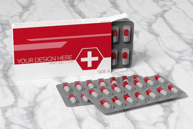 Maquete de embalagem farmacêutica