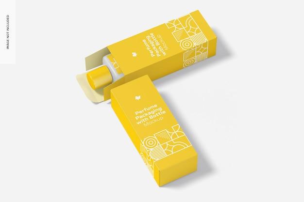 Maquete de embalagem grande de perfume, aberto e fechado