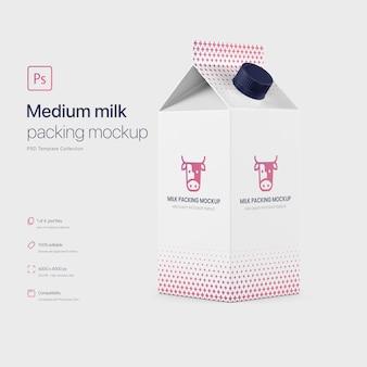 Maquete de embalagem média da caixa de leite