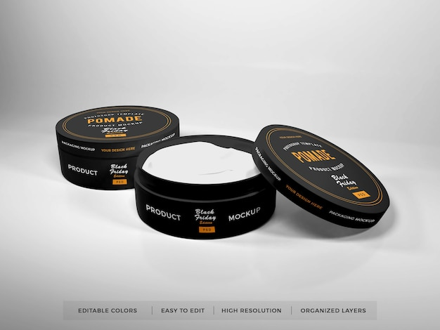 Maquete de embalagem realista para caixa redonda