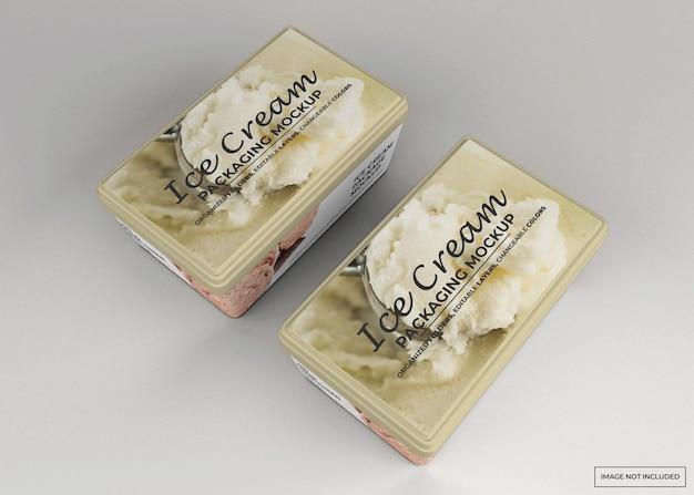 Maquete de embalagem retangular de sorvete