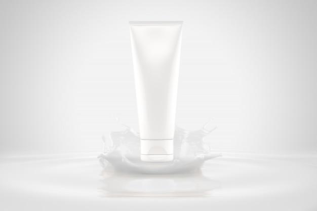 Maquete de embalagens de cosméticos respingo loção para a pele