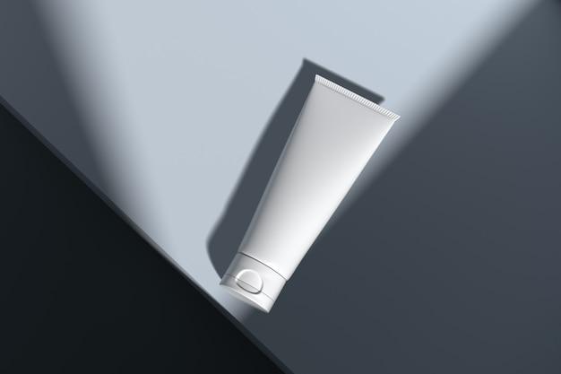 Maquete de embalagens de cosméticos skincare cookie de luz vista superior
