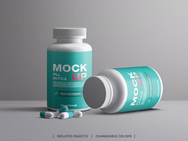 Maquete de embalagens plásticas de frascos de comprimidos de vitaminas e medicamentos com cápsulas isoladas