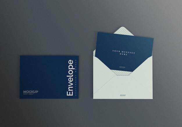 Maquete de envelope com fundo escuro
