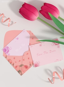 Maquete de envelope de convite de casamento