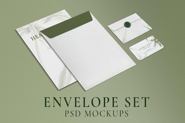 Maquete de envelope de papelaria, conjunto de identidade corporativa psd