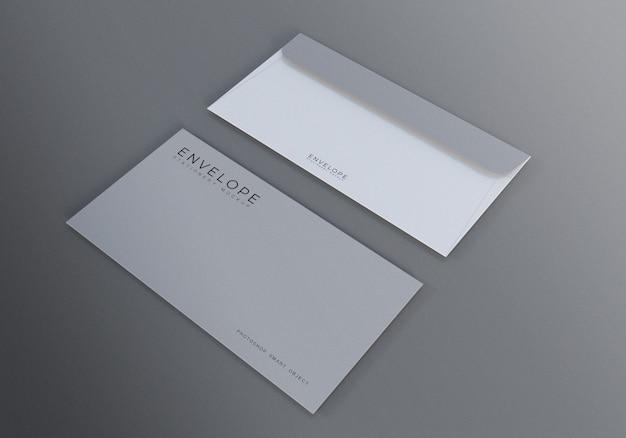 Maquete de envelope monarca com fundo cinza