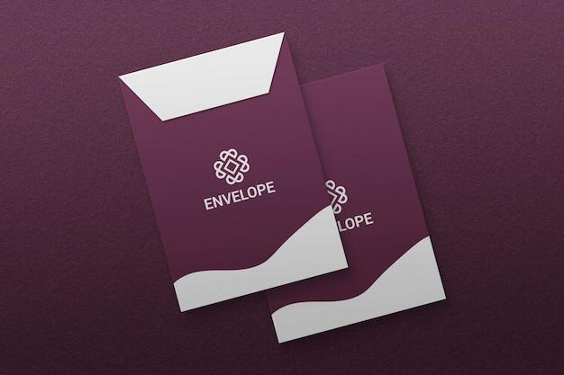 Maquete de envelope tamanho a4 em papel texturizado