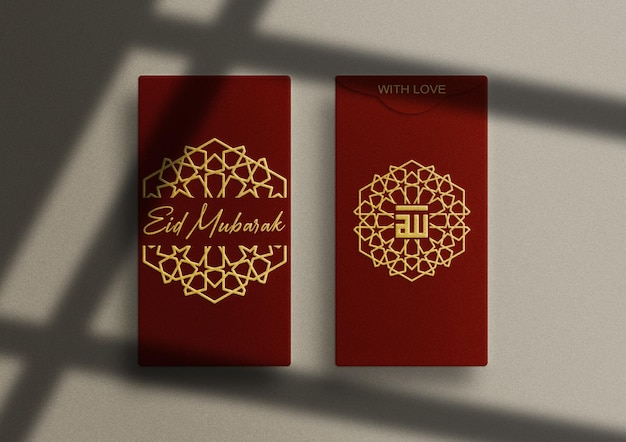 Maquete de envelope vermelho de luxo vertical com relevo dourado