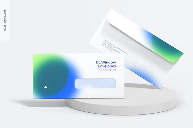 Maquete de envelopes de janela dl, vista frontal
