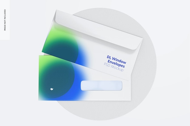 Maquete de envelopes de janela dl, vista superior