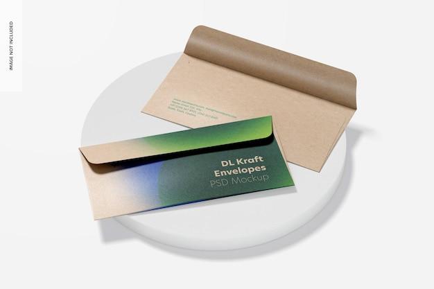 Maquete de envelopes dl kraft, vista superior