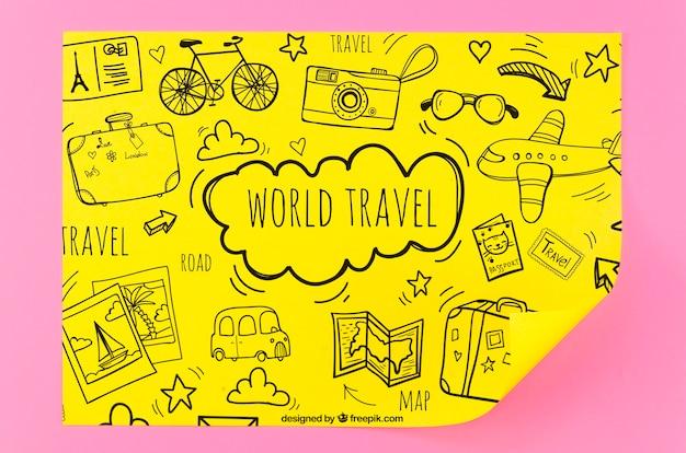 Maquete de esboços de viagens pelo mundo
