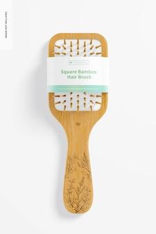 Maquete de escova de cabelo de bambu quadrada, vista superior