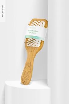 Maquete de escova de cabelo de bambu quadrada