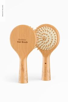 Maquete de escova de cabelo redondo de bambu, vista frontal e traseira